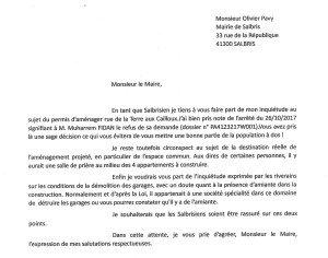 lettre Maire Salbris Permis d'aménager