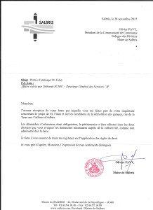 Réponse Mairie Salbris Permis d'aménager